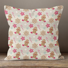 Cream Stripes with Gingerbread Men Throw Pillow