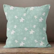 Seafoam Green Gingerbread Men Throw Pillow