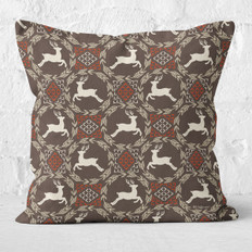 Brown Leaping Deer Circles Throw Pillow