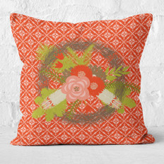 Red Rustic Feathers and Florals Wreath Throw Pillow