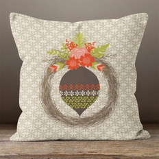 Taupe Snowflakes Feathered Ornament Throw Pillow