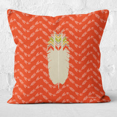 Red Arrows White Tribal Feather Throw Pillow