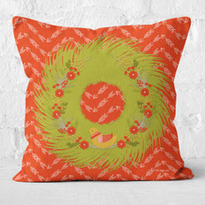 Red Arrows Floral Wreath and Yellow Bird Throw Pillow