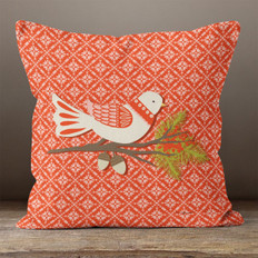 Red Fairest Isle and Winter Bird Throw Pillow