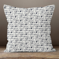 Cream with Midnight Blue Holiday Greetings Throw Pillow