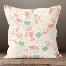 Ivory Fruit Salad Throw Pillow