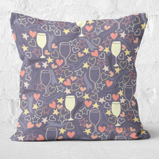 Navy Starlight and Wine Throw Pillow
