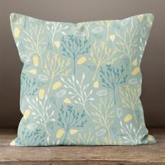 Light Teal Floral Breeze Throw Pillow