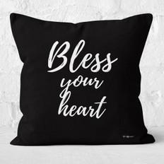 Black Bless Your Heart Throw Pillow
