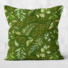 Green Polygons and Watercolor Leaves Throw Pillow