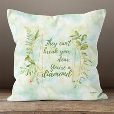 White Crystal Watercolor Diamond Quote 2 Throw Pillow