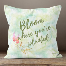 White Crystal Watercolor Bloom Where You're Planted Throw Pillow