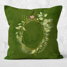 Green Watercolor Emerald Facets 3 Throw Pillow