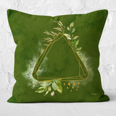Green Watercolor Triangle Facets Throw Pillow