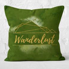 Green Watercolor Emerald Wanderlust Throw Pillow