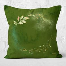 Green Watercolor Circle Floral Throw Pillow