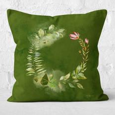 Green Watercolor Circle Wreath Throw Pillow