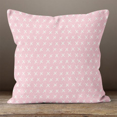 Light Pink with White X's Throw Pillow