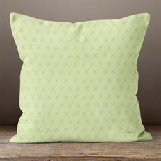 Light Green with Green X's Throw Pillow