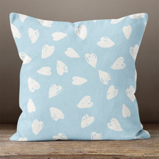 Light Blue with White Hearts Throw Pillow