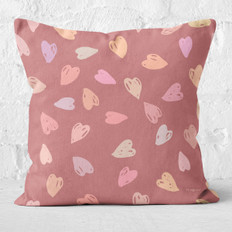 Burgundy with Multicolored Hearts Throw Pillow