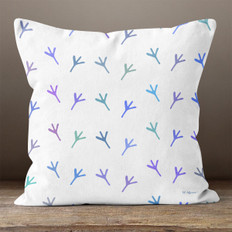 White with Purple, Blue & Green Chicken Foot Prints Throw Pillow
