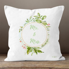 White Floral Mr & Mrs Throw Pillow