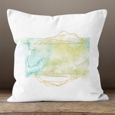 White Watercolor Modern Polygons Throw Pillow