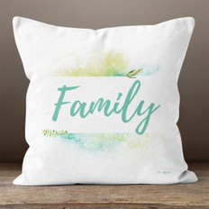 White Watercolor Bordered Family Throw Pillow