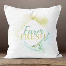 White Watercolor Farm Fresh Throw Pillow