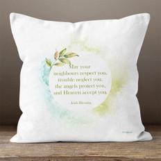White Watercolor Irish Blessing Throw Pillow
