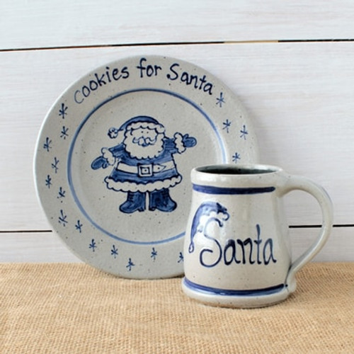 Rowe Pottery Personalized Santa Mug And Cookie Plate