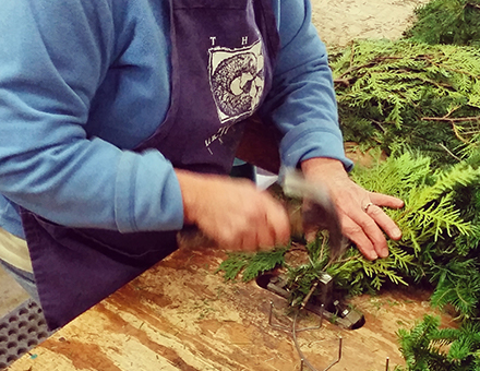 Creating wreaths at The Wreath Factory