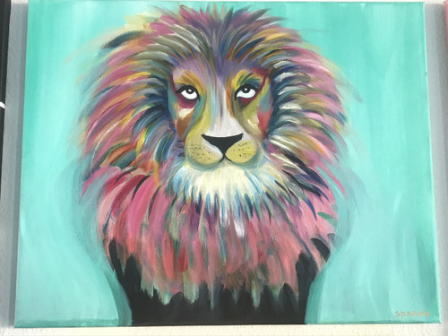 rainbow lion painting class sparks art paint party