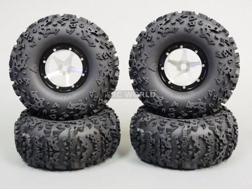 """RC 1/10 Truck Wheels 2.2 ROCK CRAWLER Aluminum BEADLOCK Rims W/ 5.5"""" TIRES"""