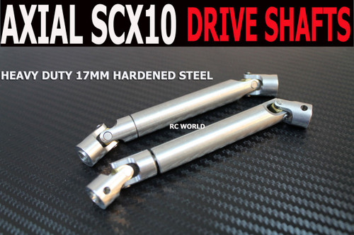 Axial SCX10 Jeep, Honcho HEAVY DUTY Hardened STEEL DRIVE SHAFTS (2) Front + Rear