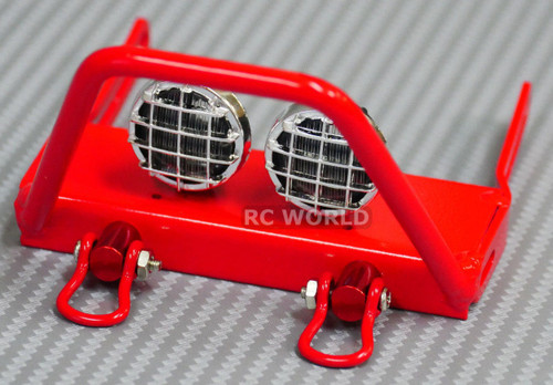 Axial SCX10 Jeep Wraith METAL FRONT BULL NOSE BUMPER w/ Light Pods LED Red