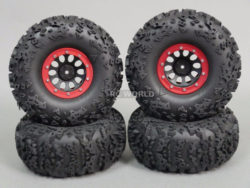 "Axial 2.2 Rock CRAWLER  Beadlock Wheels & TIres 140mm 5.5"" -Set Of 4- RED"