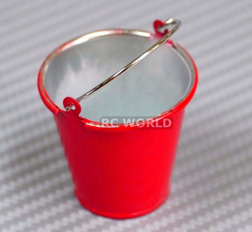 RC 1/10  Scale Car Truck Accessories Metal BUCKET W/ HANDLE -RED-