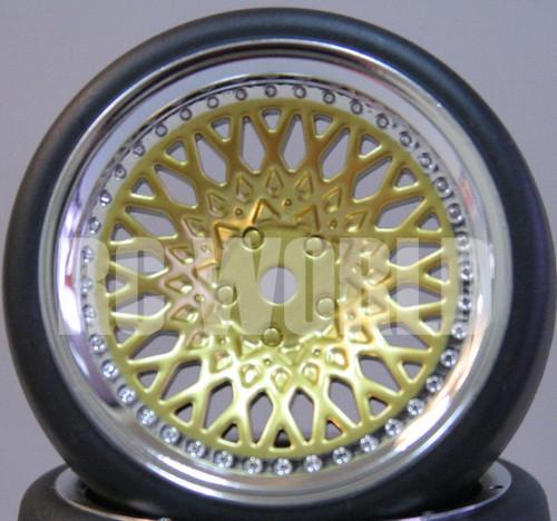 C Car 1/10 DRIFT WHEELS TIRES Package 9MM Offset GOLD w/ CHROME LIP *SET OF 4*