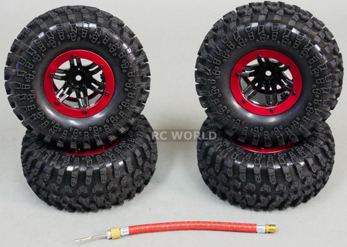 AIR System TRUCK 2.2 Inflatable TIRES BEAD LOCK Rock Crawler TIRES + RIMS (4) RED