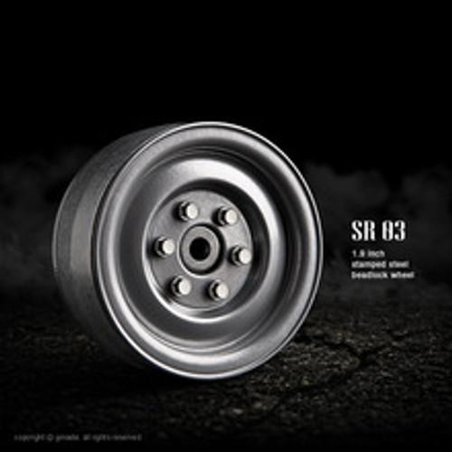 1.9 SR03 beadlock wheels (Semigloss silver) (2)