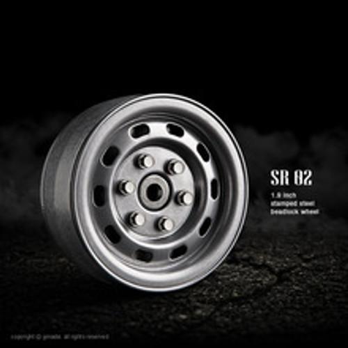 1.9 SR02 beadlock wheels (Semigloss silver) (2