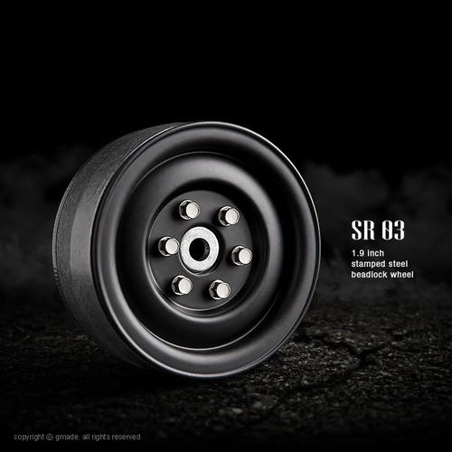 1.9 SR03 beadlock wheels (Matt black) (2)