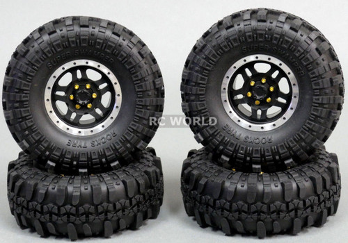Axial 1/10 Scale Truck Rims 1.9 BEADLOCK Metal Aluminum BLACK w/ 108mm SWAMPERS