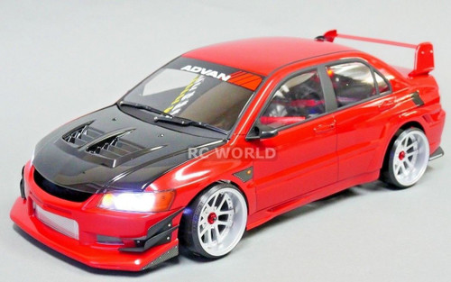 Custom 1/10 RC Drift MITSUBISHI EVO VOLTEX Rocket Bunny L.E.D Lights -Red