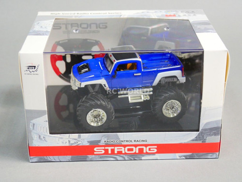 RC 1/43 Radio Control RC Micro Monster Truck HUMMER w/ LED Lights Blue Pickup