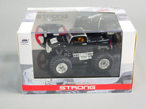 RC 1/43 Radio Control RC Micro Monster Truck HUMMER w/ LED Lights Black Pickup