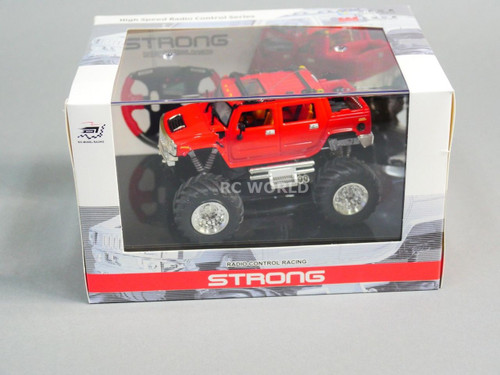 RC 1/43 Radio Control RC Micro Monster Truck HUMMER w/ LED Lights RED