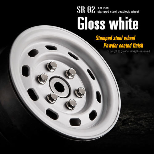Gmade 1/10 SCALE TRUCK RIMS 1.9 STEEL STAMP Beadlock Wheels WHITE #GM70176